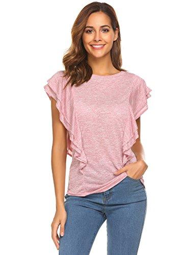 - FineFolk Summer Round Neck Butterfly Sleeve Basic Blouse T Shirt,Rose,XL