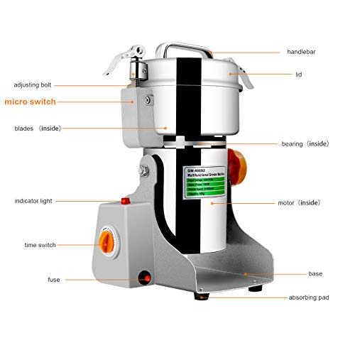 Insir Grain Grinder Mill Stainless Steel Electric High-speed Family Medicial Powder Machine Commercial Cereals Grain Mill Herb Grinder,Pulverizer 110v Gift for Mom, Wife (400G) by Insir (Image #5)