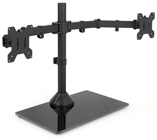 (VIVO Black Dual Monitor Stand Adjustable Mount with Freestanding Glass Base | fits 2 Screens up to 27inches (STAND-V002FG))