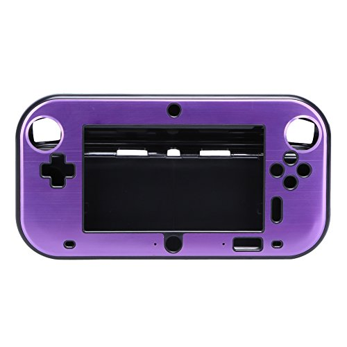 Alloet Colorful Hard Aluminium Metal + PC Protective Case Cover Shell Skin for Nintendo Wii U Gamepad Controller (Purple)