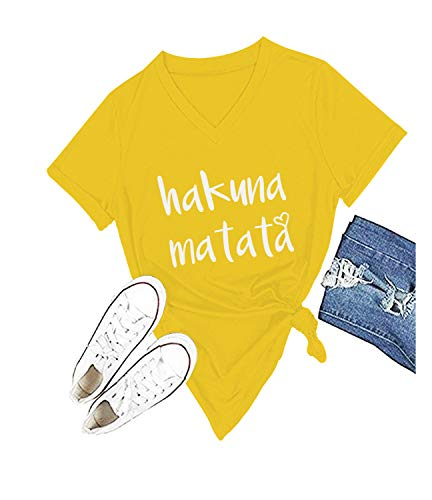 (Women's Hakuna Matata T-Shirt Cute Letter Print Short Sleeve Tee Top Funny Graphic T-Shirt (S, Yellow))