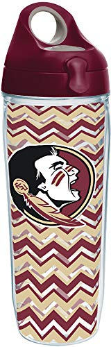 Tervis 1230658 Florida State Seminoles Chevron Insulated Tumbler with Wrap and Maroon Lid 24oz Water Bottle Clear ()