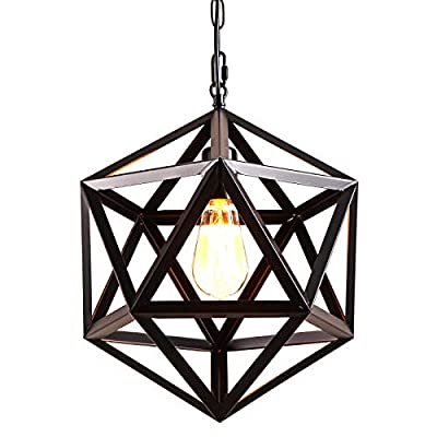 AIDOS Geometric Pendant Light Industrial, Matte Black, Polyhedron Pendant Lighting Vintage Industrial Wrought Iron Metal Hanging Light Fixture for Bar,Restaurant, Cafe, Farmhouse, Barn