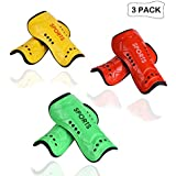 cGy 3 Pairs Youth Child Soccer Shin Pads, Kids Soccer Shin Guards Board, Perforated Breathable & Protective Gear for 4-12 Years Old Kids, Teenagers, Boys, Girls