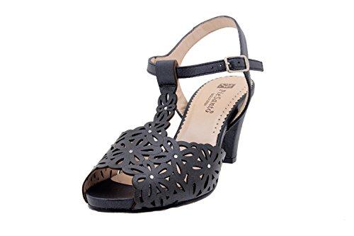 Calzado mujer confort de piel Piesanto 2280 sandalia vestir zapato cómodo ancho Negro