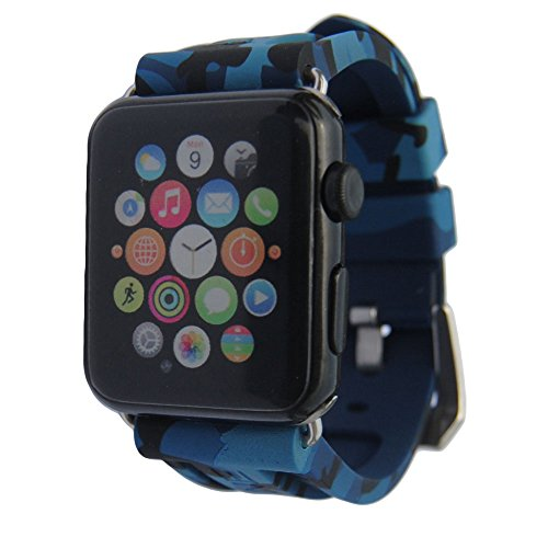 iPartsonline Sport Silicone Camo Watch Band iWatch 42/44mm Soft Rubber Wristband iWatch 4/3/2/1 Camouflage Band(Navy Blue) ()