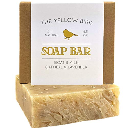 Lavender Goats Milk Soap Bar with Oats - Gentle Exfoliating Bath Soap. Moisturizing Dry Skin Face & Body Wash. Mild Natural and Organic Soap. Artisan Handmade Soap