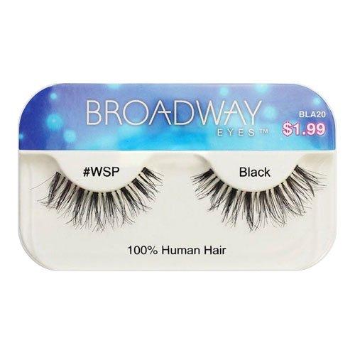 Broadway Eyes False Strip Eyelashes 100% Human Hair Black #WSP, BLA20 (2 - Broadway 100