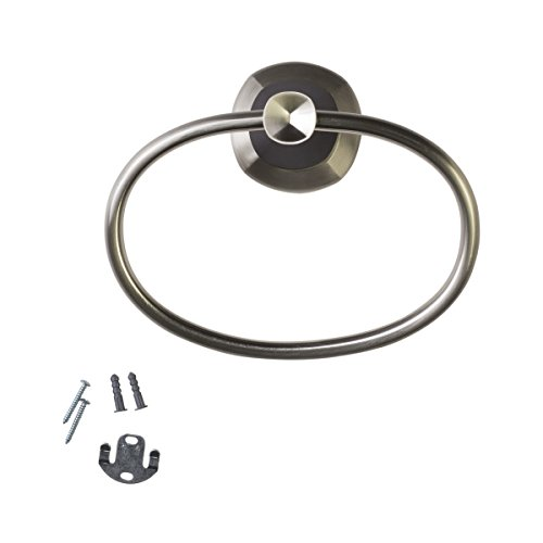 Rustic Oak Triple Robe (Delta Bathroom Towel Ring in Satin Nickel with Cocoa Bronze Insets, fixing without drilling, 2.6in x 7.1in x 5.5in)