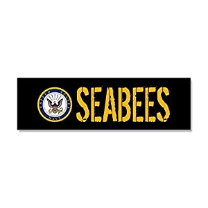 CafePress - U.S. Navy: Seabees (Black) - Car Magnet 10 x 3, Magnetic Bumper Sticker from CafePress