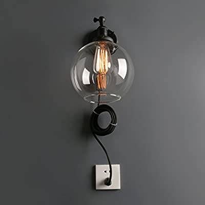 Phansthy Globe Wall Sconce Vintage Style Industrial Wall Light, 7.9 Inch Clear Glass Lampshade,Push Button and Socket