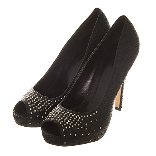 Donna Diva Black Shoes Miss toe Peep IFqXd7