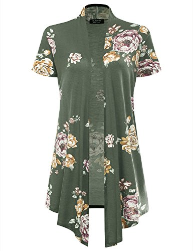 - All for You Women's Soft Drape Floral Cardigan Short Sleeve Olive 2033 XX-Large
