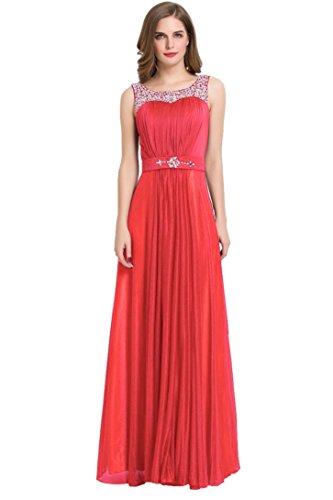 Women Lace Waisted Full Bridesmaid Party Dress Pink - 9
