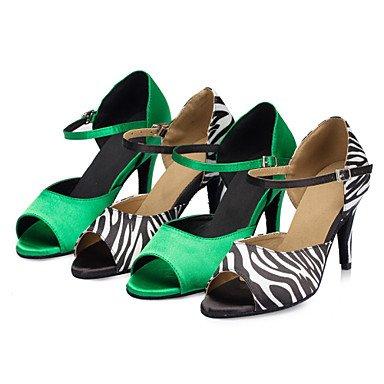 35 Das Salsa De Sapatos Mulheres Salto Dança Uk3 Samba Cetim Cn34 Combinado Ue Us5 De Xiamuo Verde De Salão Zebra Verde Sandálias Latino rwYr8
