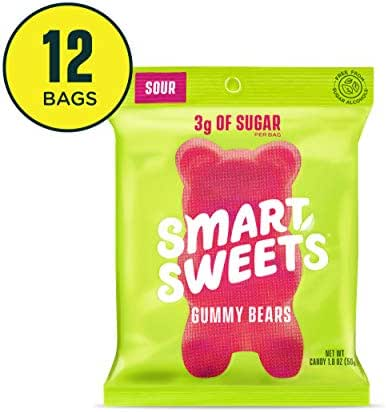 SmartSweets Gummy Bears Sour 1.8 Ounce, Candy With Low-Sugar (3g) & Low Calorie (90)- Free of Sugar Alcohols & No Artificial Sweeteners, Sweetened With Stevia, 12 Count