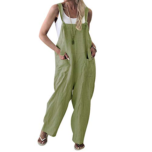 (Unifizz Women Plus Size Overalls Linen Wide Leg Jumpsuits Vintage Baggy Pants Casual Rompers with Pockets M Green)