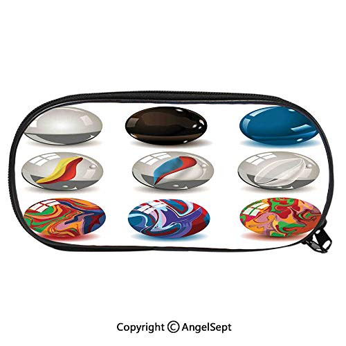 (Pencil CaseCollection of Different Marbles with Glass and Porcelain Materials Like Bubbles Artwork for Pen Holder with Zipper Children Back to School Big Capacity Pencil Pouch Student Sturdy)