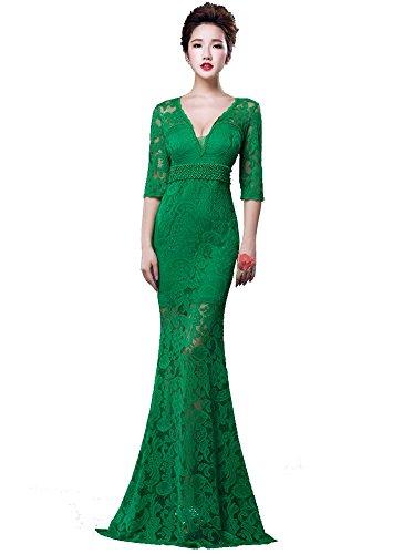 Meerjungfrau lange Maxi 3 Ausschnitt Grün Beauty Abend V Kleid Ärmel Spitzen Zip 4 Emily formales vqxf5fzwp