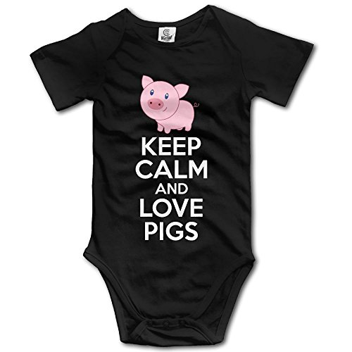 Librarian Costume Props (Newborn Baby Keep Calm And Love Pigs Short-Sleeveless One-Piece Tank Shortie Romper 12 Months)