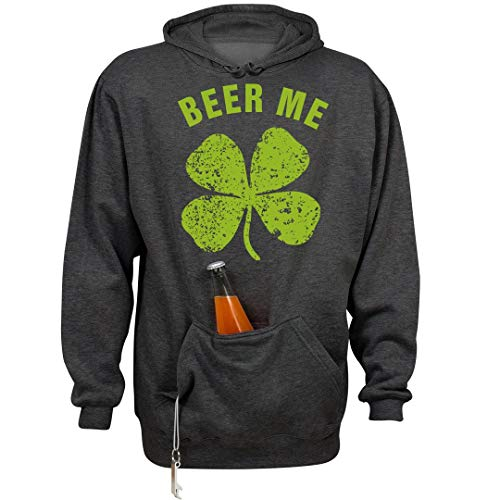 FUNNYSHIRTS.ORG Drink Me St Patricks Day: Unisex Beer Holder Tailgate Hoodie Charcoal Heather ()