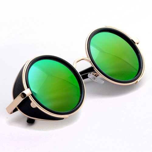 Stylish Steampunk Vintage Style 50s Round Golden & Black Frame Green Lens Glasses Cyber Goggle Blinder - Sunglasses Blinds