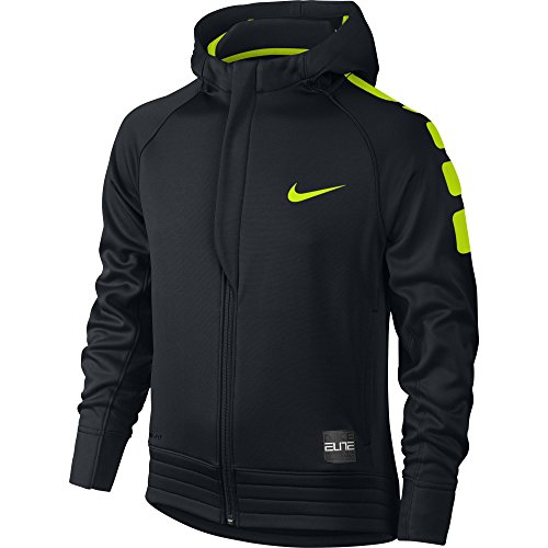 Boy's Nike Elite Stripe Full-Zip Basketball Hoodie Black/Volt Size Large