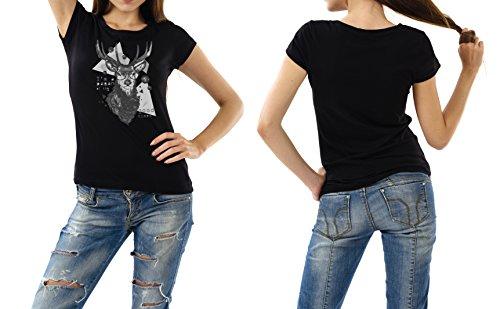 Sinus Art T-Shirt schwarz FRAUEN DAMEN Hirsch, Geweih, Hipster, Party, Tracht, Wandern, Geschenkidee