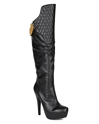 Qupid BI69 Women Leatherette Quilted Knee High Platform Stiletto Heel Boot - Black (Size: (Quilted Stiletto Boots)