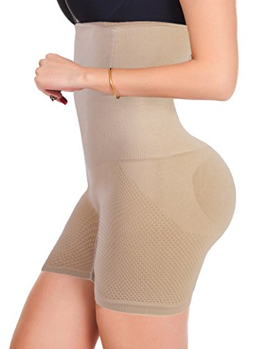 (Lelinta Tummy Control Body Shaper Seamless Thigh Slimming Boyshort Breathable Slip Shapewear for Women Beige)