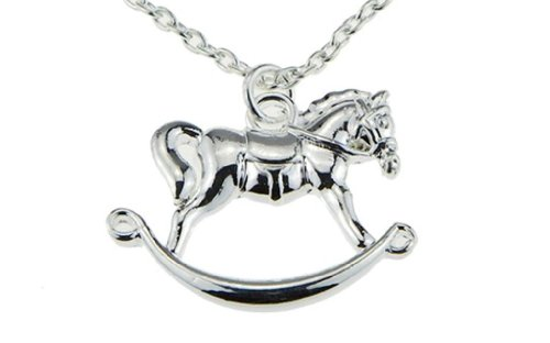 Rocking Horse Charm Pendant Necklace Jewelry Baby Shower Gift Mother Little Girl Horse Toy Child Lover