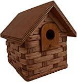 Birdhouse – Basket – Woven – With Wood Roof Amish Handmade. Functional for Birds or Decorative for Your Country Rustic Decor For Sale