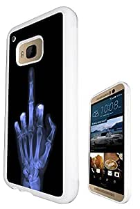 Xray Middle Finger Skeleton Funky Design htc one M9 Fashion Trend Case Back Cover Gel Silicone Rubber