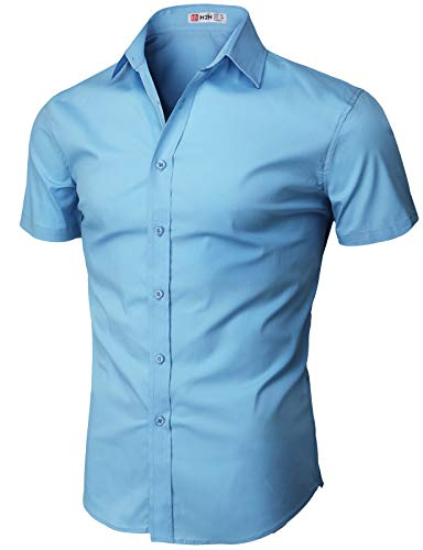 H2H Mens Regular Fit Short Sleeve Solid Dress Shirt Blue US 3XL/Asia 4XL (KMTSTS0132)