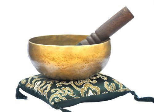 "6"" Superb B Crown Chakra Old Tibetan Singing Bowl, Meditation bowls,Hand beaten singing bowl, Handmade bowl from Nepal,Singing bowls with Green Cushion and Wooden mallet."