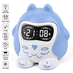 Time to Wake Kids Sleep Trainer Clock, White Noise Machine with 9 Baby Sleep Lullaby Sounds & Timer|Night Light|12/24H|NAP, Plug in/Battery Powered Digital Alarm Clock for Toddler Girls Boys Bedroom