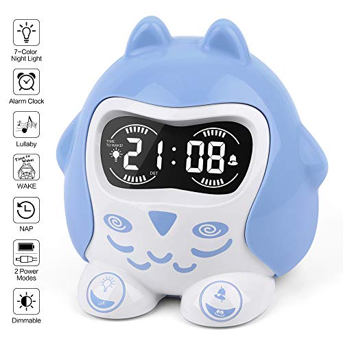 (Time to Wake Kids' Sleep Trainer, White Noise Machine with 9 Sleep Lullaby Sounds & Timer, 7-Color Night Light, 12/24H, NAP, Plug in/Battery Powered Digital Alarm Clock for Toddler Girls Boys Bedroom)