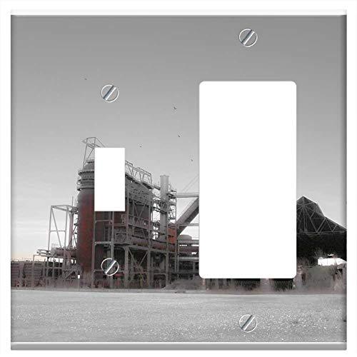 Blast Steel Furnace - 1-Toggle 1-Rocker/GFCI Combination Wall Plate Cover - Blast Furnace Steel Mill Dortmund