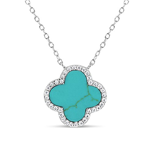 Designs by Helen Andrews Sterling Silver Stabilized Turquoise with Cubic Zirconia Clover Necklace, 16.5