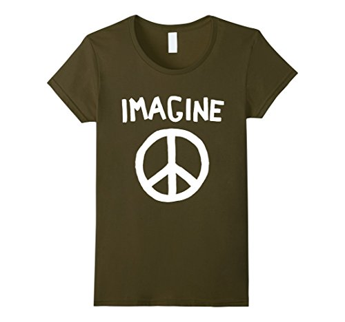 Womens Imagine Peace Symbol T-Shirt Medium (Peace Womens Tee)