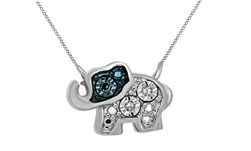 Jewel Zone US Blue and White Natural Diamond Diamond Accent Mini Elephant Pendant Necklace 14k White Gold Over Sterling Silver ()