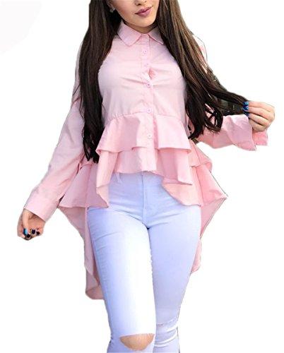 - Women Ruffle High Low Hem Buttom Down Long Sleeves Denim Dress Jean Shirts Tops Shirt Dress Pink XL