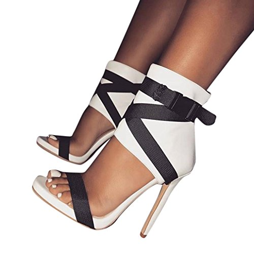 (Women Dress Wedge Sandal,2018 Adjustable Strap Roman High Heels Peep Toe Shoes for Party Casual [US 5-7.5] (White, US:5.5))
