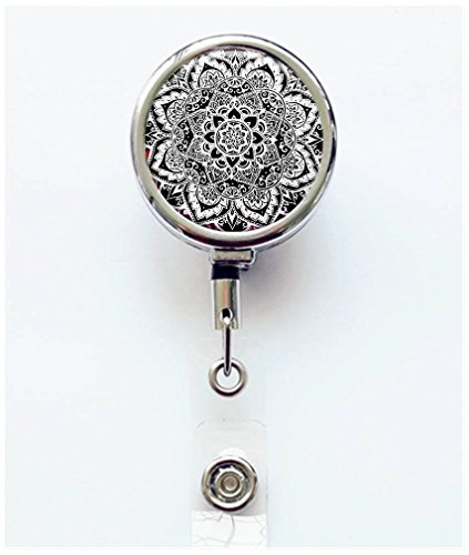 RhyNSky Bohemian Boho Pattern Retractable Badge Holder Reel Clip with Alligator Clip for Name Tag ID Card Keys, Silvery, C1138