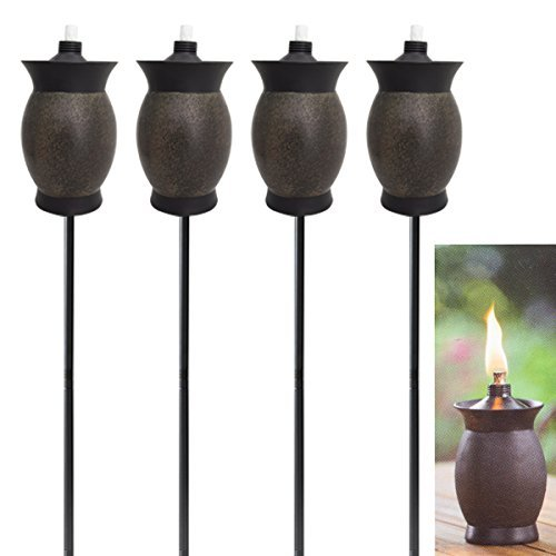Tiki 4-pack 3-in-1 Torches 8 Inch Outdoor Table Lamp 50 Inch Garden Torch 64 Inch Yard Lamp Post Light Decor For Patio (Torches Backyard)