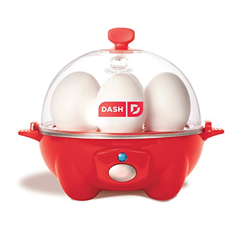 Dash Rapid Egg Cooker: 6 Egg Capacity Electric Egg Cooker for Hard Boiled Eggs, Poached Eggs, Scrambled Eggs, or Omelets with Auto Shut Off Feature - Red -