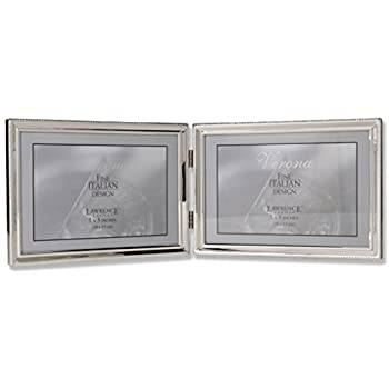 Lawrence Frames Polished Silver Plate 5x7 Hinged Double Horizontal - Bead Border Design