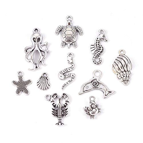 Kissitty 30Pcs Antique Silver Ocean Theme Mixed Charm Colletions 10 Styles 12~30.5mm Tibetan Ocean Animal Pendants for DIY Jewelry Craft Making from Kissitty