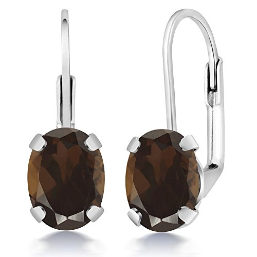 (Gem Stone King 2.40 Ct Oval Brown Smoky Quartz Silver Plated Brass Lever Back Earrings)