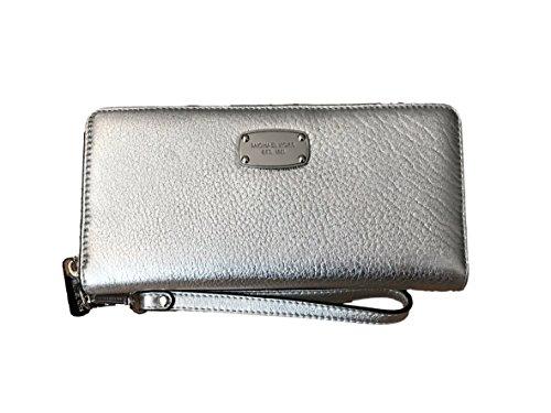 MICHAEL KORS Jet Set Item Travel Continental Leather Zip Wallet Wristlet in - Clear Michael Handbag Kors